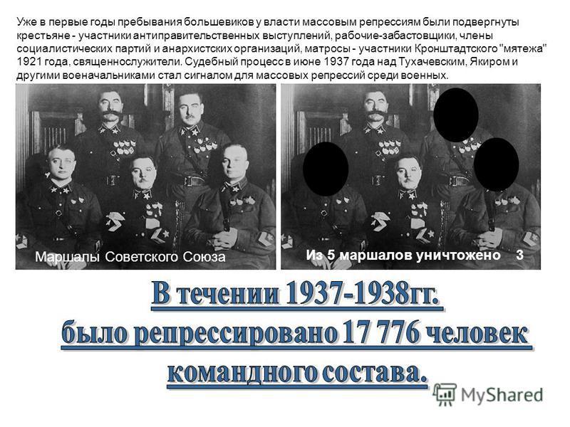 Уже в первые годы пребывания большевиков у власти массовым репрессиям были подвергнуты крестьяне - участники антиправительственных выступлений, рабочие-забастовщики, члены социалистических партий и анархистских организаций, матросы - участники Кроншт