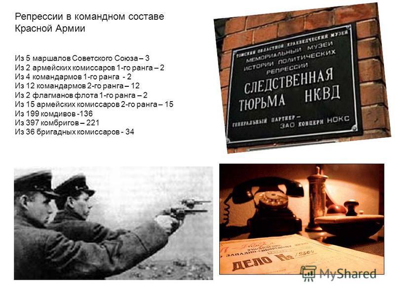 Из 5 маршалов Советского Союза – 3 Из 2 армейских комиссаров 1-го ранга – 2 Из 4 командармов 1-го ранга - 2 Из 12 командармов 2-го ранга – 12 Из 2 флагманов флота 1-го ранга – 2 Из 15 армейских комиссаров 2-го ранга – 15 Из 199 комдивов -136 Из 397 к