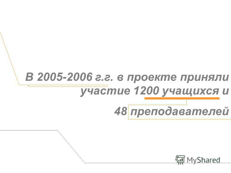 В 2005-2006 г.г. в проекте приняли участие 1200 учащихся и 48 преподавателей