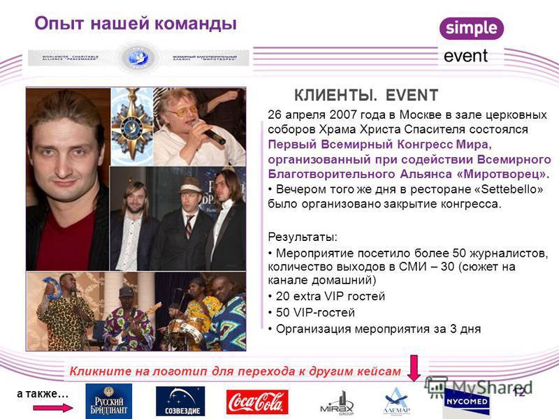 12 26 апреля 2007 года в Москве в зале церковных соборов Храма Христа Спасителя состоялся Первый Всемирный Конгресс Мира, организованный при содействии Всемирного Благотворительного Альянса «Миротворец». Вечером того же дня в ресторане «Settebello» б