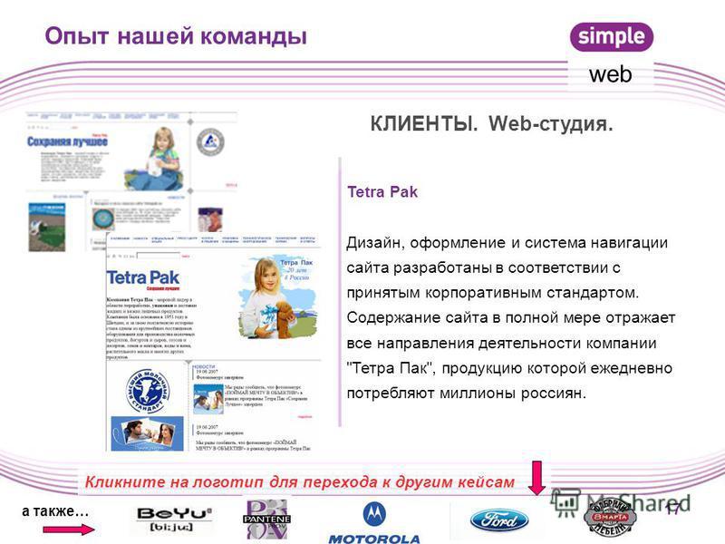 17 Опыт нашей команды КЛИЕНТЫ. Web-студия. Tetra Pak Дизайн, оформление и система навигации сайта разработаны в соответствии с принятым корпоративным стандартом. Содержание сайта в полной мере отражает все направления деятельности компании