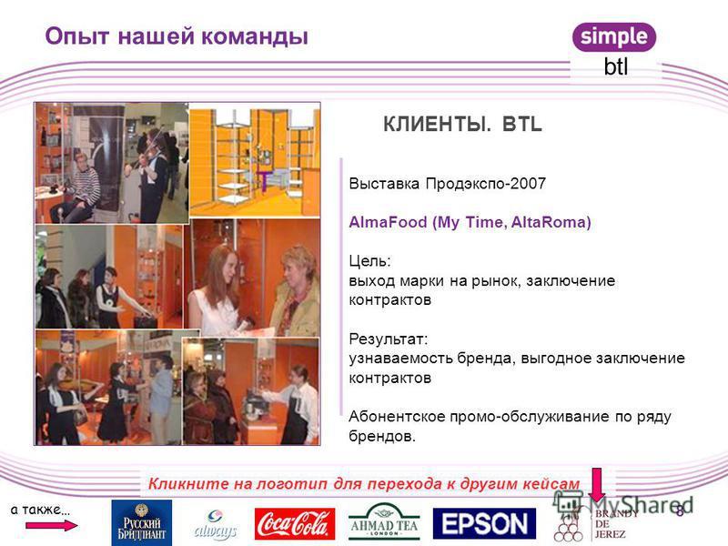 Выставка Продэкспо-2007 AlmaFood (My Time, AltaRoma) Цель: выход марки на рынок, заключение контрактов Результат: узнаваемость бренда, выгодное заключение контрактов Абонентское промо-обслуживание по ряду брендов. 8 Опыт нашей команды а также… btl Кл