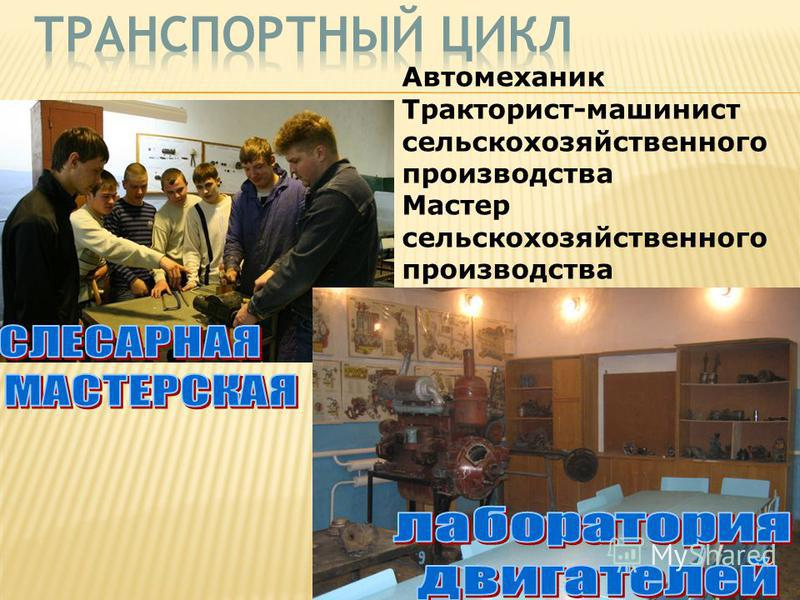 Автомеханик Тракторист-машинист сельскохозяйственного производства Мастер сельскохозяйственного производства
