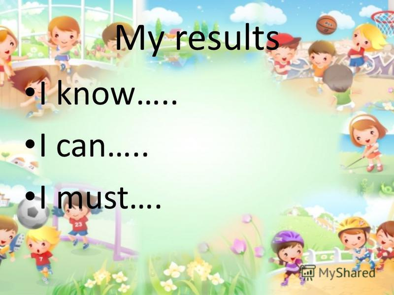My results I know….. I can….. I must….