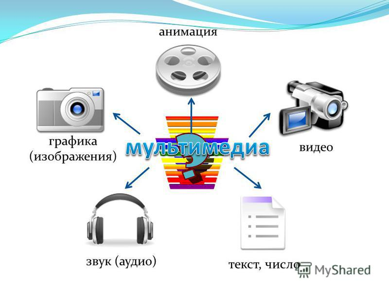 графика (изображения) анимация видео звук (аудио) текст, число