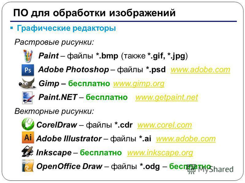 7 ПО для обработки изображений Графические редакторы Растровые рисунки: Paint – файлы *.bmp (также *.gif, *.jpg) Adobe Photoshop – файлы *.psd www.adobe.comwww.adobe.com Gimp – бесплатно www.gimp.orgwww.gimp.org Paint.NET – бесплатно www.getpaint.net