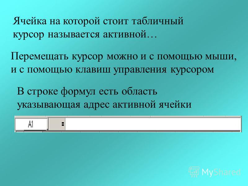 Ячейка на которой стоит табличный курсор называется активной… Перемещать курсор можно и с помощью мыши, и с помощью клавиш управления курсором В строке формул есть область указывающая адрес активной ячейки