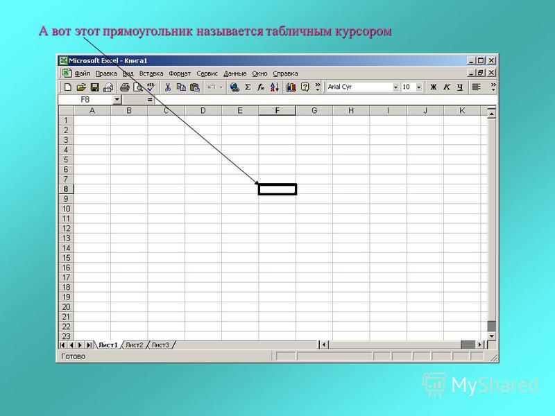 А вот этот прямоугольник называется табличным курсором