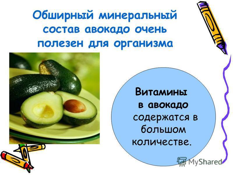 Обширный минеральный состав авокадо очень полезен для организма Витамины в авокадо содержатся в большом количестве.