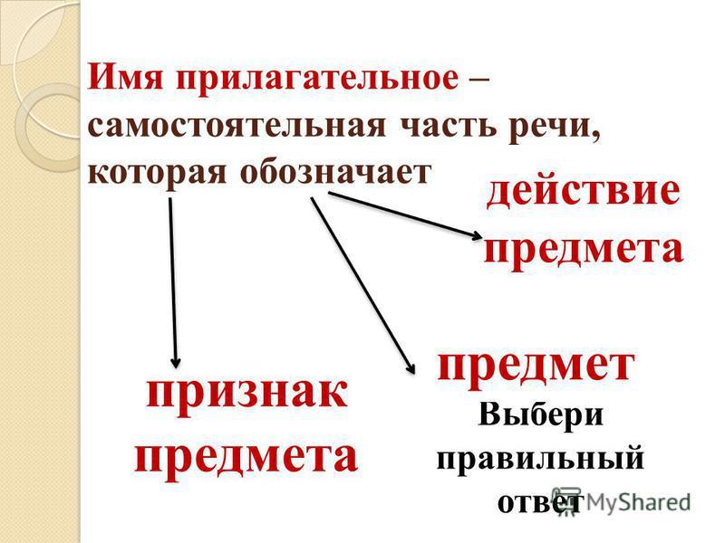 Выбери правильной ответ признак предмета предмет действие предмета Имя прилагательнее – самостоятельная часть речи, которая обозначает