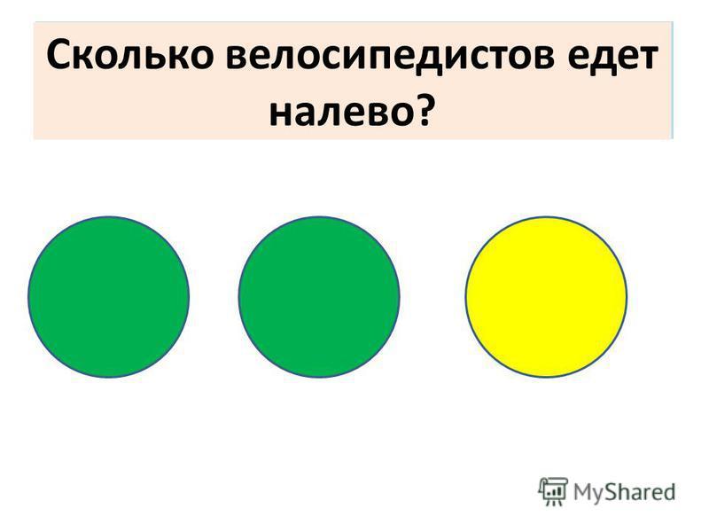 Сколько велосипедистов едет направо? Сколько велосипедистов едет налево?