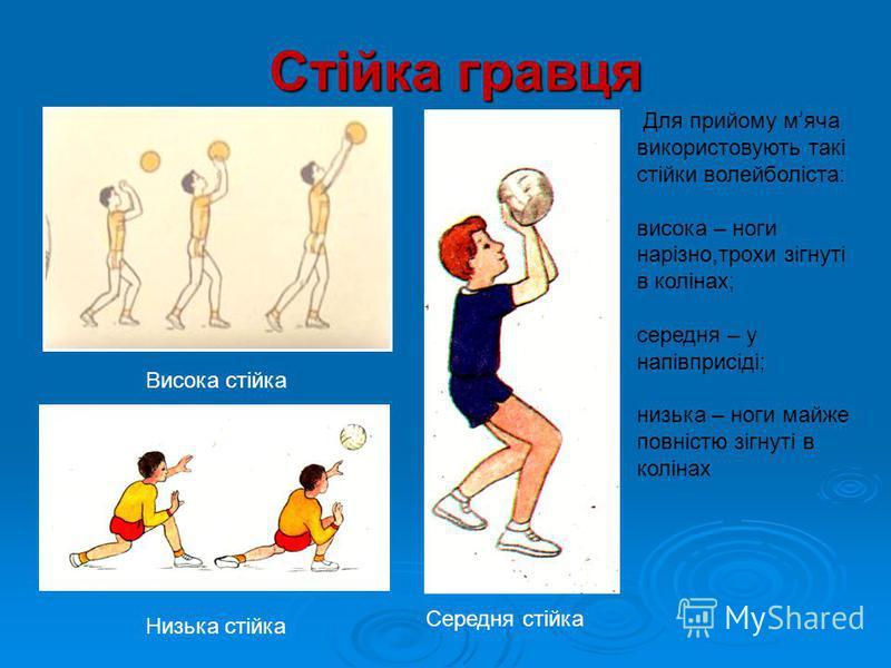 Стійка гравця Низька стійка Середня стійка Висока стійка Для прийому мۥяча використовують такі стійки волейболіста: висока – ноги нарізно,трохи зігнуті в колінах; середня – у напівприсіді; низька – ноги майже повністю зігнуті в колінах