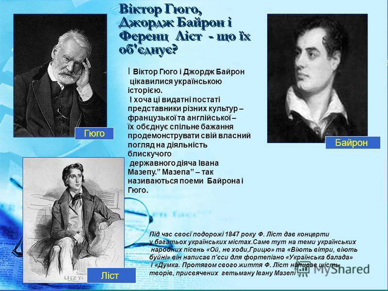 Під час своєї подорожі 1847 року Ф. Ліст дав концерти у багатьох українських містах.Саме тут на теми українських народних пісень «Ой, не ходи,Грицю» та «Віють вітри, віють буйні» він написав п'єси для фортепіано «Українська балада» і «Думка. Протягом