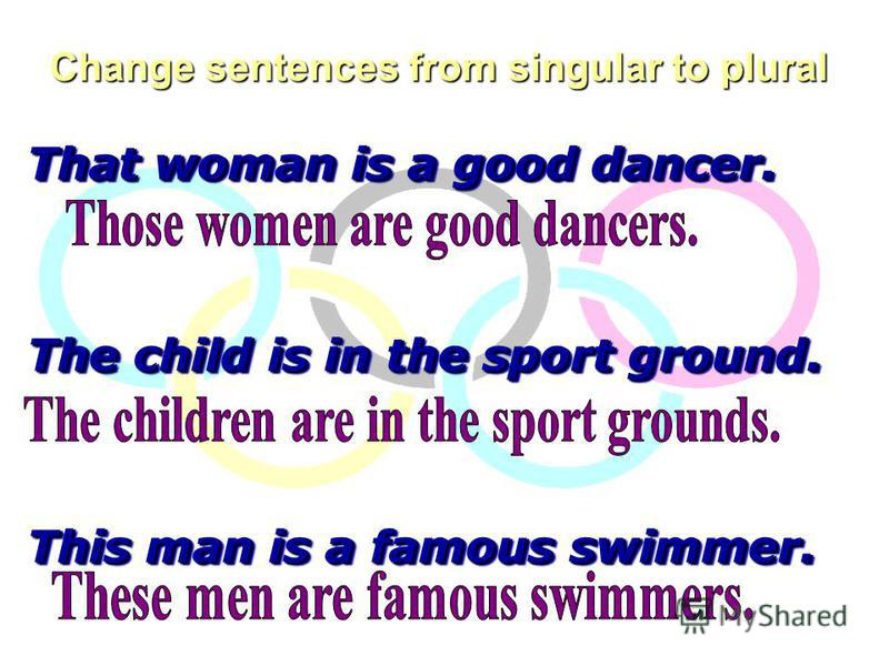 Change sentences from singular to plural That woman is a good dancer. The child is in the sport ground. This man is a famous swimmer. That woman is a good dancer. The child is in the sport ground. This man is a famous swimmer.
