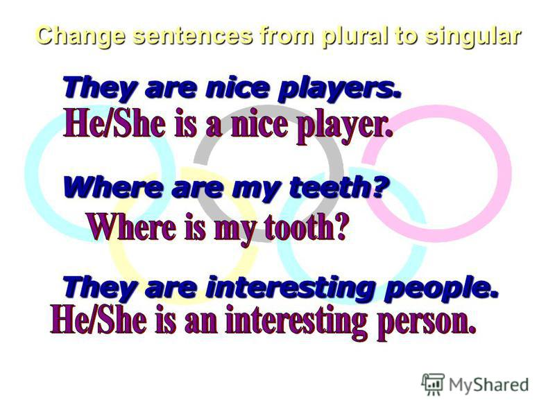 Change sentences from plural to singular They are nice players. Where are my teeth? They are interesting people. They are nice players. Where are my teeth? They are interesting people.