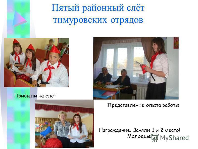 Пятый районный слёт тимуровских отрядов Прибыли на слёт Представление опыта работы Награждение. Заняли 1 и 2 место! Молодцы!