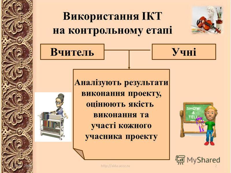 Використання ІКТ на контрольному етапі ВчительУчні Аналізують результати виконання проекту, оцінюють якість виконання та участі кожного учасника проекту