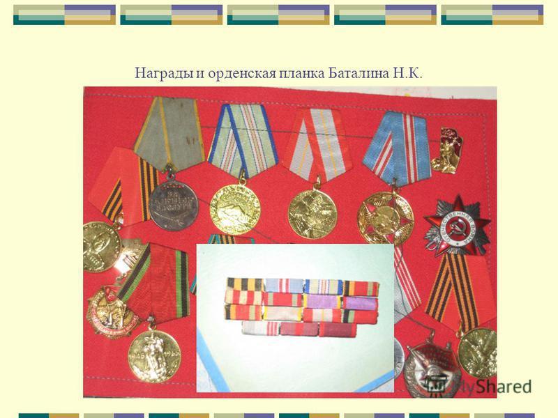 Награды и орденская планка Баталина Н.К.