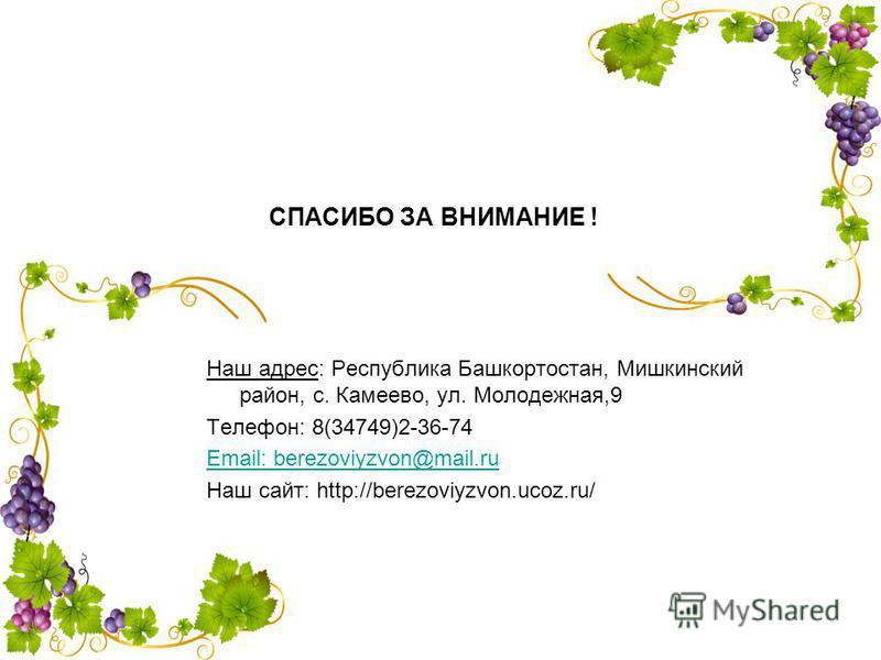 СПАСИБО ЗА ВНИМАНИЕ ! Наш адрес: Республика Башкортостан, Мишкинский район, с. Камеево, ул. Молодежная,9 Телефон: 8(34749)2-36-74 Email: berezoviyzvon@mail.ru Наш сайт: http://berezoviyzvon.ucoz.ru/