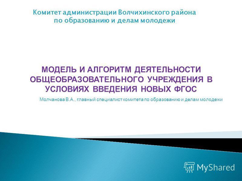 Молчанова В.А., главный специалист комитета по образованию и делам молодежи Комитет администрации Волчихинского района по образованию и делам молодежи