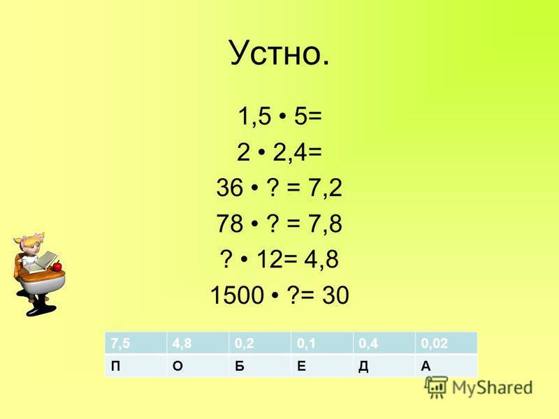 Устно. 1,5 5= 2 2,4= 36 ? = 7,2 78 ? = 7,8 ? 12= 4,8 1500 ?= 30 7,54,80,20,10,40,02 ПОБЕДА