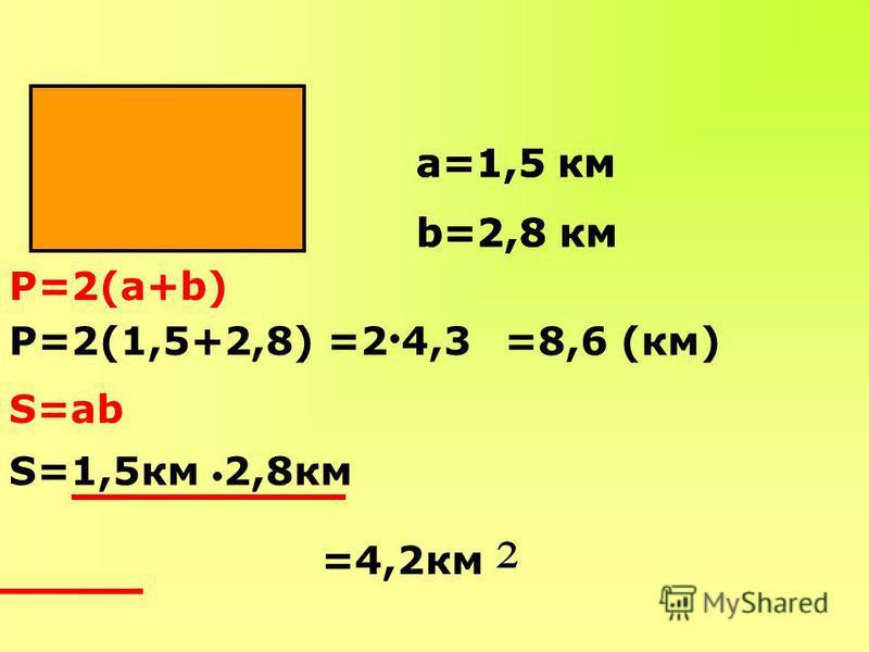 а=1,5 км b=2,8 км Р=2(а+b) Р=2(1,5+2,8) S=ab S=1,5 км 2,8 км =2 4,3 =8,6 (км) =4,2 км а=1,5 км b=2,8 км а=1,5 км b=2,8 км