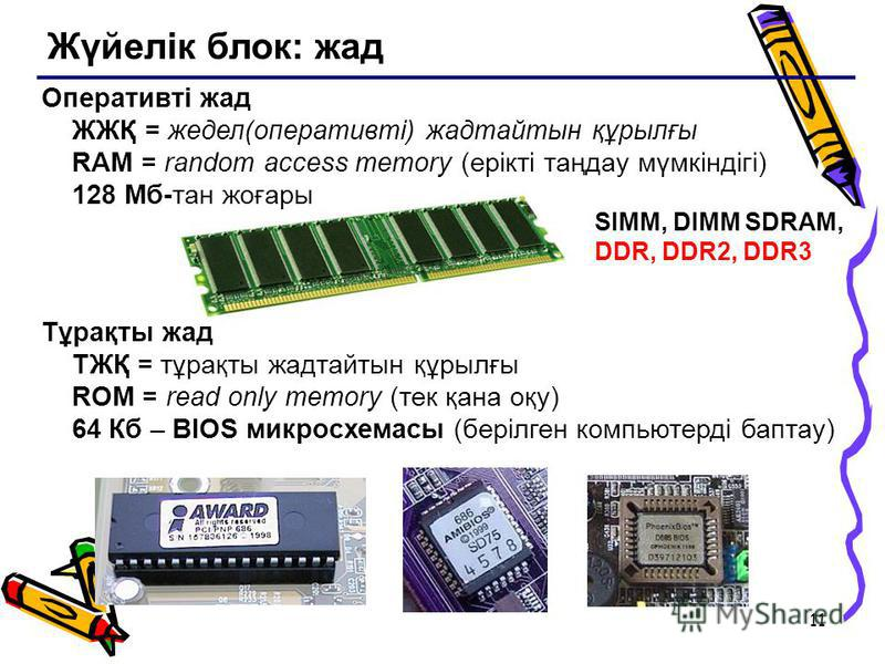11 Жүйелік блок: жад SIMM, DIMM SDRAM, DDR, DDR2, DDR3 Оперативті жад ЖЖҚ = жедел(оперативті) жадтайтын құрылғы RAM = random access memory (ерікті таңдау мүмкіндігі) 128 Мб-тан жоғары Тұрақты жад ТЖҚ = тұрақты жадтайтын құрылғы ROM = read only memory