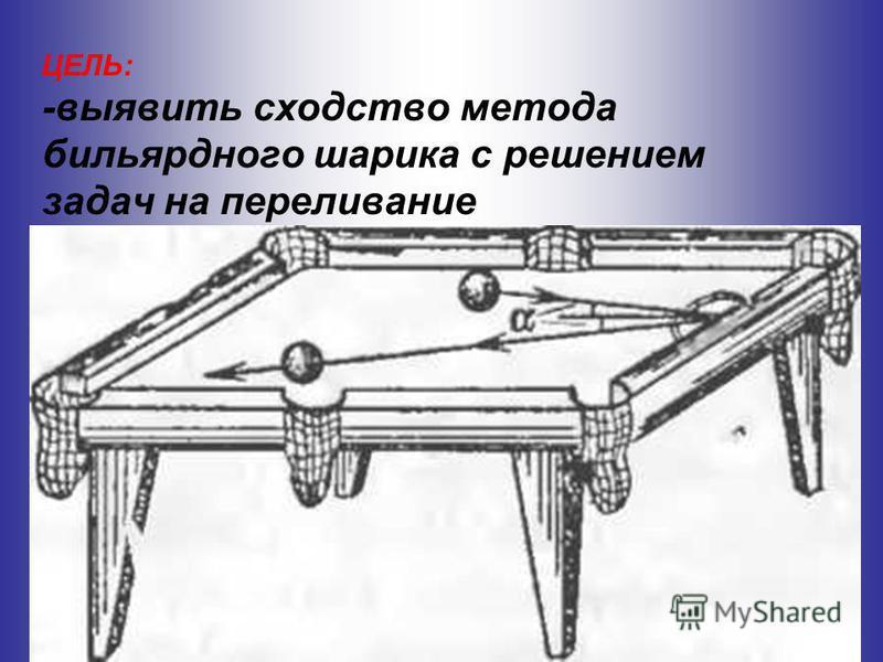 ЦЕЛЬ: -выявить сходство метода бильярдного шарика с решением задач на переливание