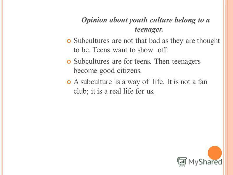 Opinion about youth culture belong to a teenager. Subcultures are not that bad as they are thought to be. Teens want to show off. Subcultures are for teens. Then teenagers become good citizens. A subculture is a way of life. It is not a fan club; it