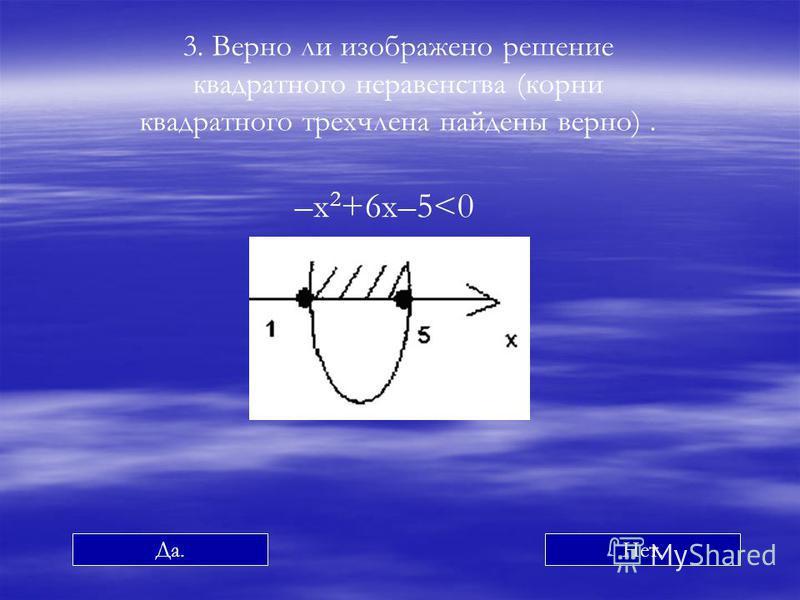 –х 2 +6 х–5<0 3. Верно ли изображено решение квадратного неравенства (корни квадратного трехчлена найдены верно). Да.Нет.