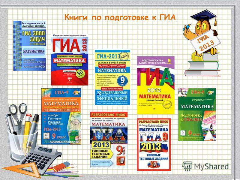 Модуль «Геометрия» содержит 8 заданий: в части 1 - 5 заданий, в части 2 - 3 задания. ГИА 2013 Книги по подготовке к ГИА