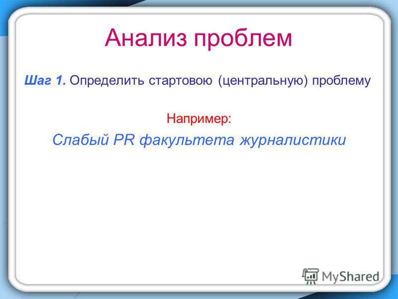 Анализ проблем Шаг 1. Определить стартовою (центральную) проблему Например: Слабый PR факультета журналистики