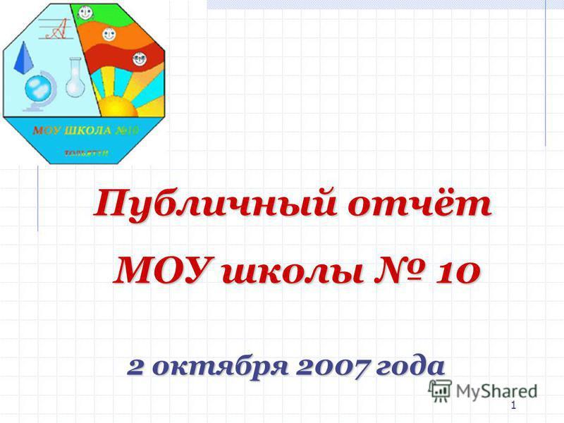 1 2 октября 2007 года Публичный отчёт МОУ школы 10 МОУ школы 10