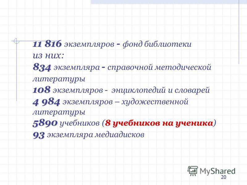 20 11 816 11 816 экземпляров - фонд библиотеки из них: 834 834 экземпляра - справочной методической литературы 108 108 экземпляров - энциклопедий и словарей 4 984 4 984 экземпляров – художественной литературы 5890 8 учебников на ученика 5890 учебнико