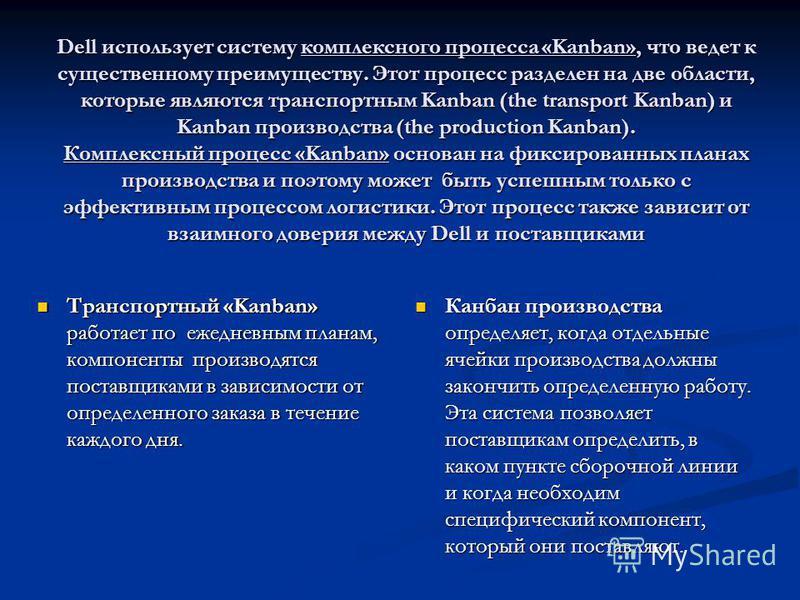 Dell использует систему комплексного процесса «Kanban», что ведет к существенному преимуществу. Этот процесс разделен на две области, которые являются транспортным Kanban (the transport Kanban) и Kanban производства (the production Kanban). Комплексн