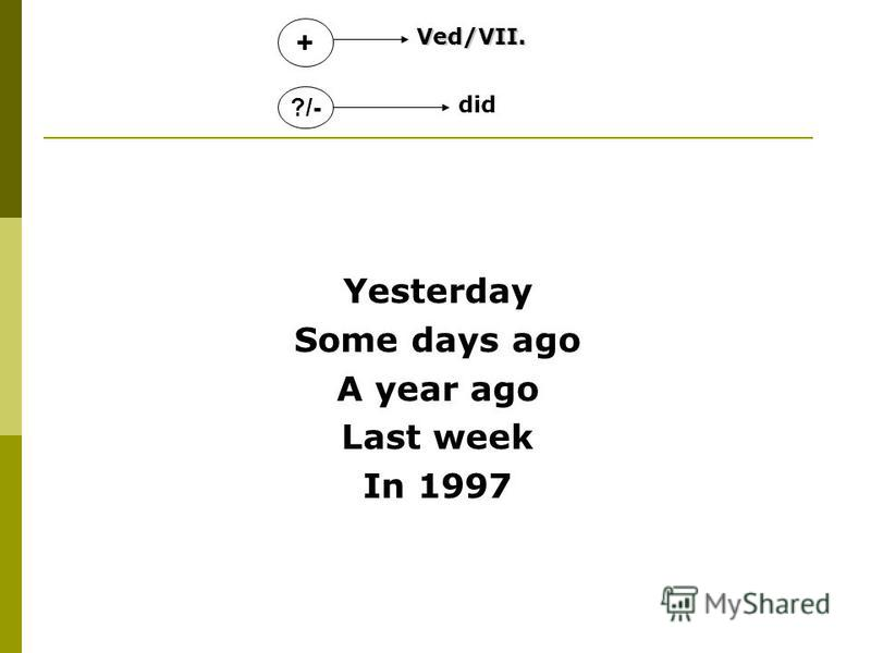 Yesterday Some days ago A year ago Last week In 1997 ?/- +Ved/VII. did
