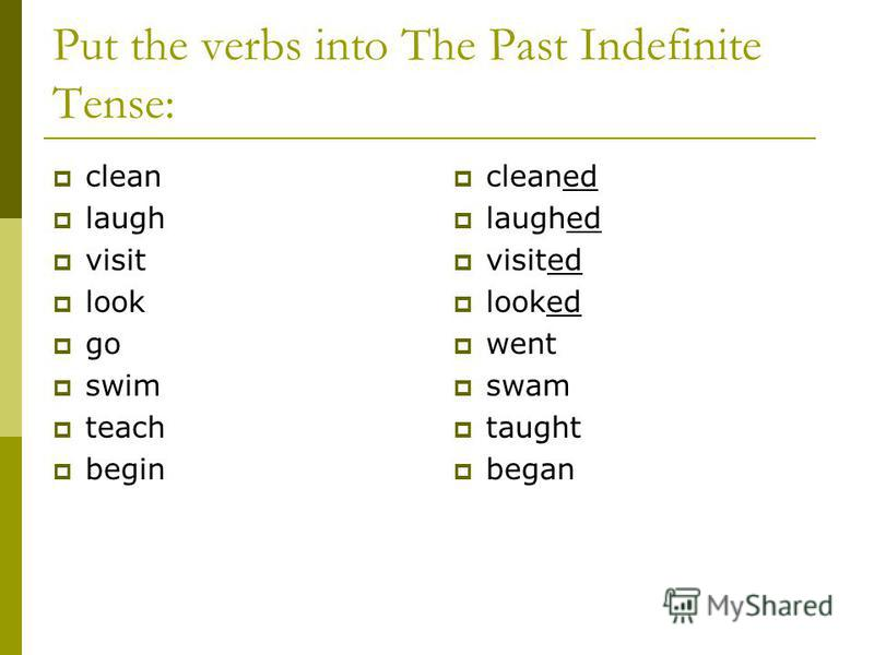 Put the verbs into The Past Indefinite Tense: clean laugh visit look go swim teach begin cleaned laughed visited looked went swam taught began