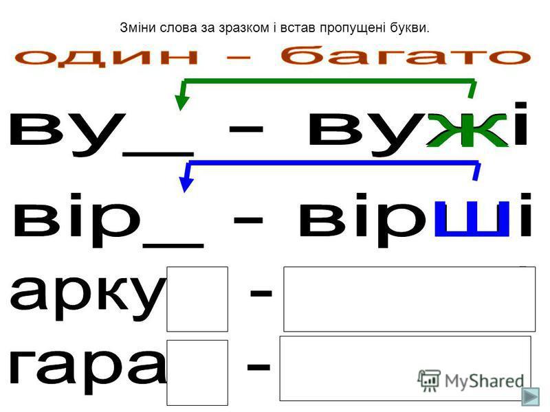 Зміни слова за зразком, виділи закінчення. Запиши пару словосполучень на вибір.