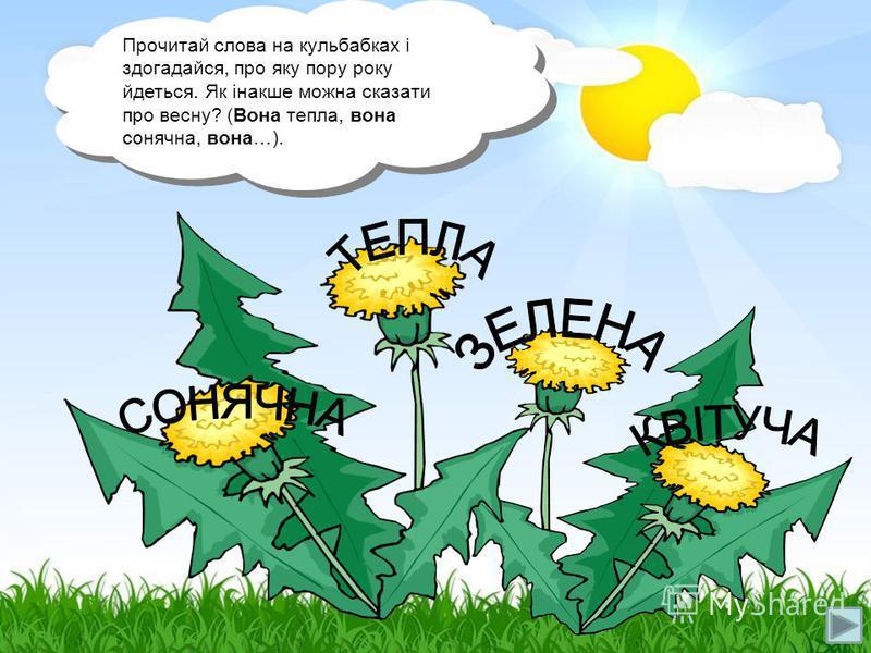 Прочитай слова на кульбабках і здогадайся, про яку пору року йдеться. Як інакше можна сказати про весну? (Вона тепла, вона сонячна, вона…).
