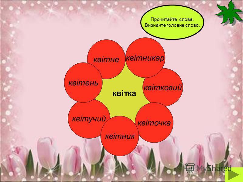 квітка квітковий квітучий квіточка квітникар квітне Прочитайте слова. Визначте головне слово. квітник квітень