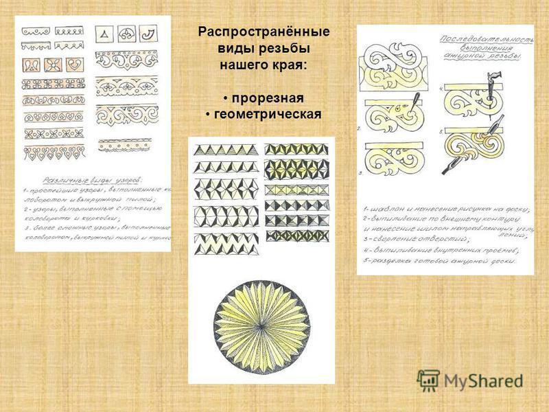 Распространённые виды резьбы нашего края: прорезная геометрическая