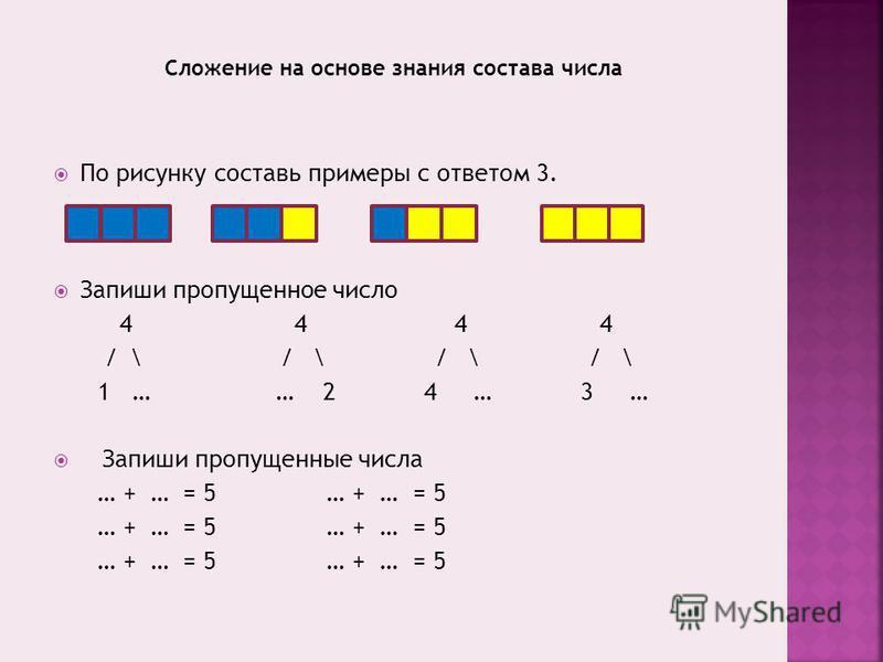 По рисунку составь примеры с ответом 3. Запиши пропущенное число 4 4 4 4 / \ / \ / \ / \ 1 … … 2 4 … 3 … Запиши пропущенные числа … + … = 5 … + … = 5