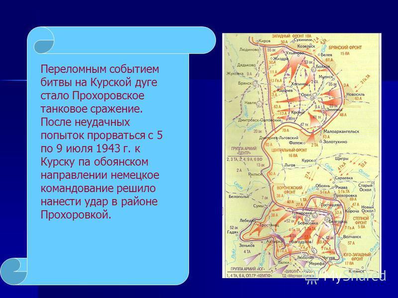 Переломным событием битвы на Курской дуге стало Прохоровское танковое сражение. После неудачных попыток прорваться с 5 по 9 июля 1943 г. к Курску па обоянском направлении немецкое командование решило нанести удар в районе Прохоровкой.