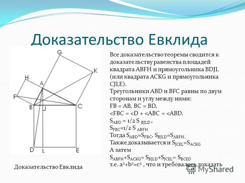 Доказательство Евклида Все доказательство теоремы сводится к доказательству равенства площадей квадрата ABFH и прямоугольника BDJL (или квадрата ACKG и прямоугольника CJLE). Треугольники ABD и BFC равны по двум сторонам и углу между ними: FB = AB, BC