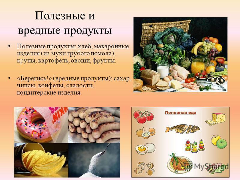 Полезные и вредные продукты Полезные продукты: хлеб, макаронные изделия (из муки грубого помола), крупы, картофель, овощи, фрукты. «Берегись!» (вредные продукты): сахар, чипсы, конфеты, сладости, кондитерские изделия.