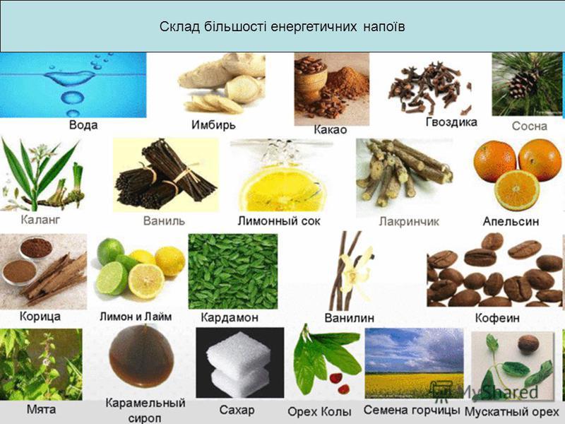 Склад більшості енергетичних напоїв