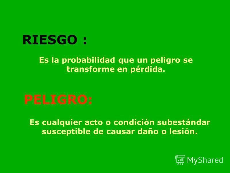 RIESGO : Es la probabilidad que un peligro se transforme en pérdida. PELIGRO: Es cualquier acto o condición subestándar susceptible de causar daño o lesión.
