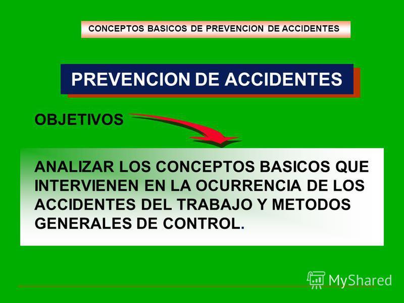 PREVENCION DE ACCIDENTES OBJETIVOS ANALIZAR LOS CONCEPTOS BASICOS QUE INTERVIENEN EN LA OCURRENCIA DE LOS ACCIDENTES DEL TRABAJO Y METODOS GENERALES DE CONTROL. CONCEPTOS BASICOS DE PREVENCION DE ACCIDENTES