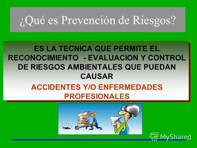ES LA TECNICA QUE PERMITE EL RECONOCIMIENTO - EVALUACION Y CONTROL DE RIESGOS AMBIENTALES QUE PUEDAN CAUSAR ACCIDENTES Y/O ENFERMEDADES PROFESIONALES ¿Qué es Prevención de Riesgos?