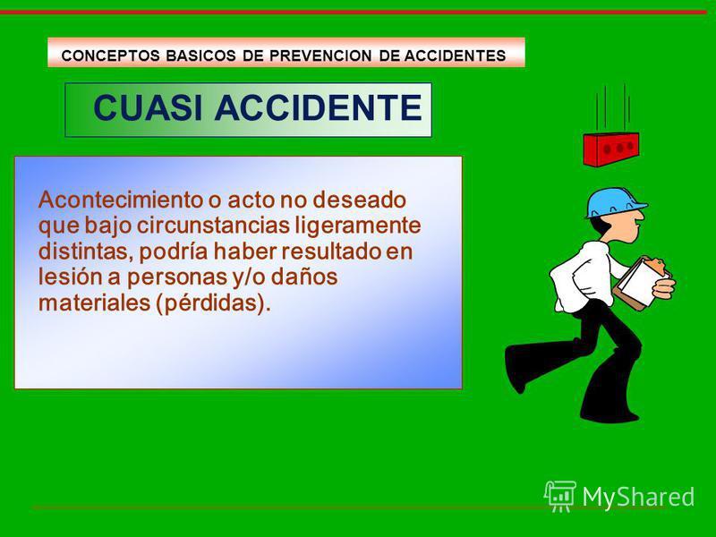CUASI ACCIDENTE Acontecimiento o acto no deseado que bajo circunstancias ligeramente distintas, podría haber resultado en lesión a personas y/o daños materiales (pérdidas). CONCEPTOS BASICOS DE PREVENCION DE ACCIDENTES